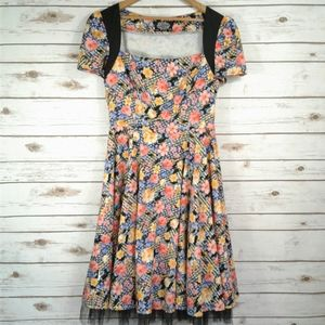Hearts and Roses Mixed Floral Rockabilly Dress